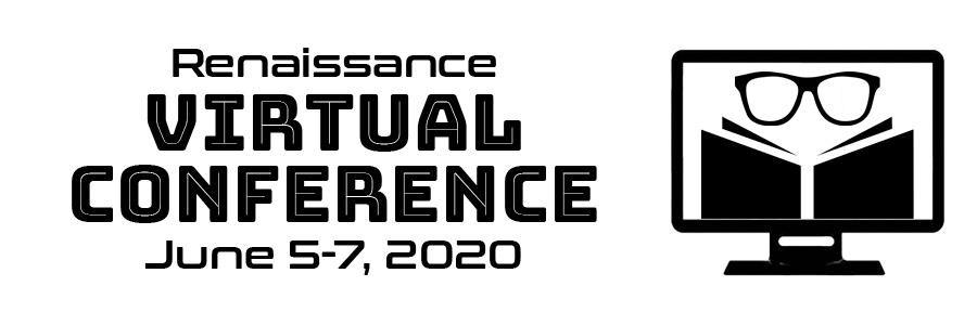Logo of a book with a pair of glasses over a computer screen. Text says: Renaissance Virtual Conference June 5-7, 2020