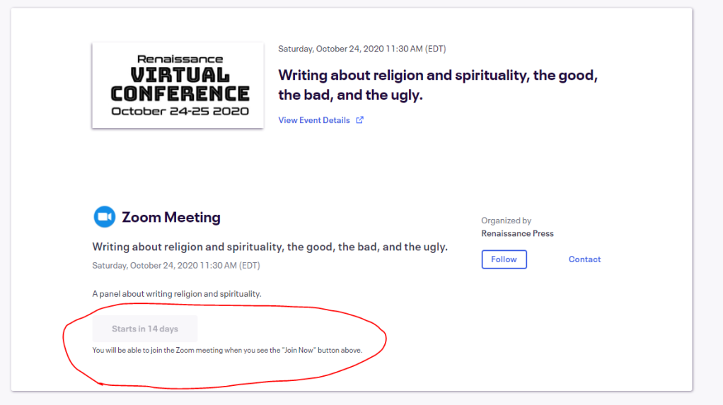 "Image of the eventbrite event with a grayed out link that says ""You will be able to join the Zoom meeting when you see the ""Join now"" button above."